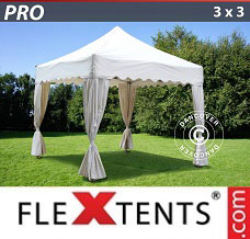 Event tent 3x3 m White, inkl. 4 decorative curtains