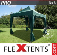 Event tent 3x3 m Green, incl. 4 decorative curtains