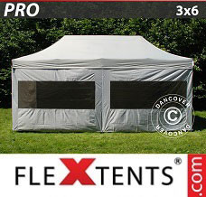 Event tent 3x6 m silver, incl. 6 sidewalls