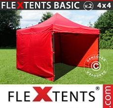 Event tent 4x4m Red, incl. 4 sidewalls