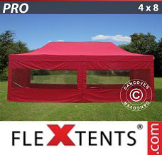 Event tent 4x8 m Red, incl. 6 sidewalls