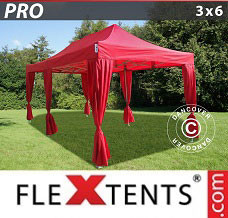 Event tent 3x6 m Red, incl. 6 decorative curtains