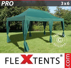 Event tent 3x6 m Green, incl. 6 decorative curtains