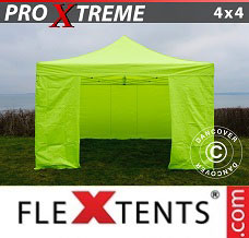 Event tent 4x4 m Neon yellow/green, incl. 4 sidewalls