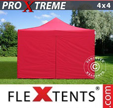 Event tent 4x4 m Red, incl. 4 sidewalls