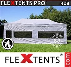 Event tent 4x8 m White, Flame retardant, incl. 4 sidewalls