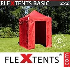 Event tent 2x2 m Red, incl. 4 sidewalls