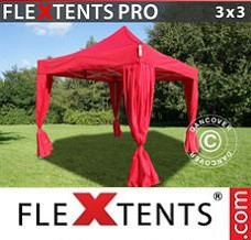Event tent 3x3 m Red, incl. 4 decorative curtains