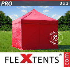 Event tent 3x3 m Red, incl. 4 sidewalls