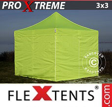 Event tent 3x3 m Neon yellow/green, incl. 4 sidewalls