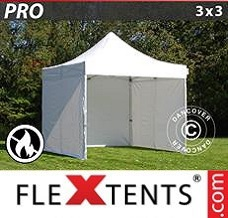 Event tent 3x3 m White, Flame retardant, incl. 4 sidewalls