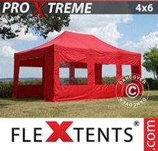 Event tent 4x6 m Red, incl. 8 sidewalls